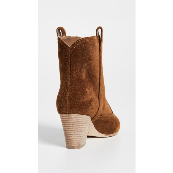 Brown Round Toe Block Heels Boots Vintage Ankle Booties image 3