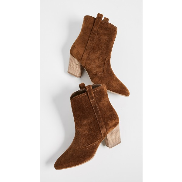 Brown Round Toe Block Heels Boots Vintage Ankle Booties image 4