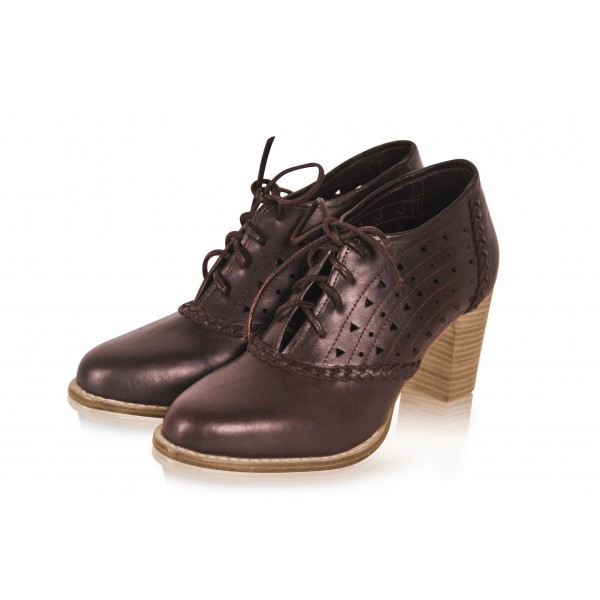 Brown Round Toe Oxford Heels Hollow out Lace up Vintage Shoes image 1