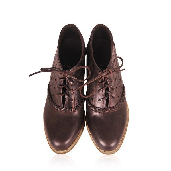 Brown Round Toe Oxford Heels Hollow out Lace up Vintage Shoes image 2