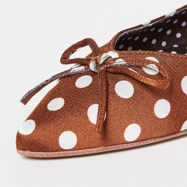 Brown Satin Pointy Toe Flats Polka Dot Bow Flats for Women  image 3
