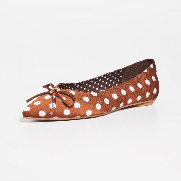 Brown Satin Pointy Toe Flats Polka Dot Bow Flats for Women  image 1
