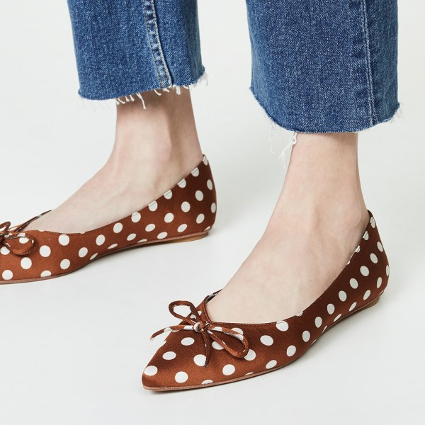 Brown Satin Pointy Toe Flats Polka Dot Bow Flats for Women  image 2