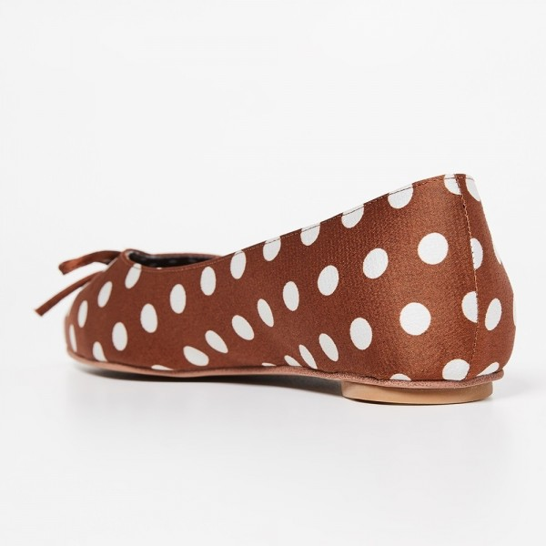 Brown Satin Pointy Toe Flats Polka Dot Bow Flats for Women  image 4