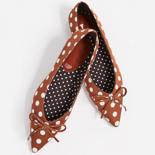 Brown Satin Pointy Toe Flats Polka Dot Bow Flats for Women  image 5