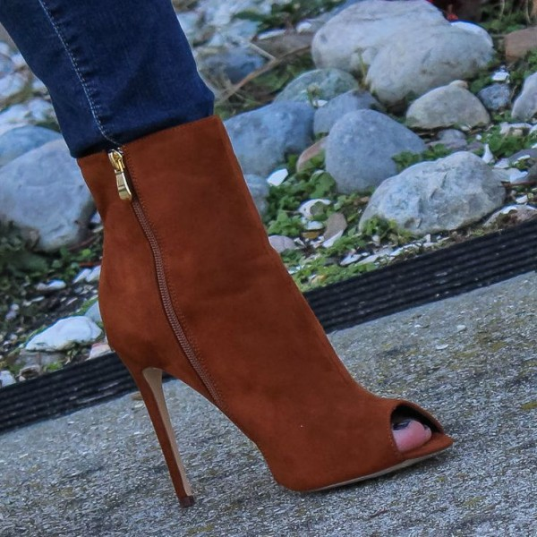 Tan Boots Suede Stiletto Boots Peep Toe Ankle Boots for Women image 3
