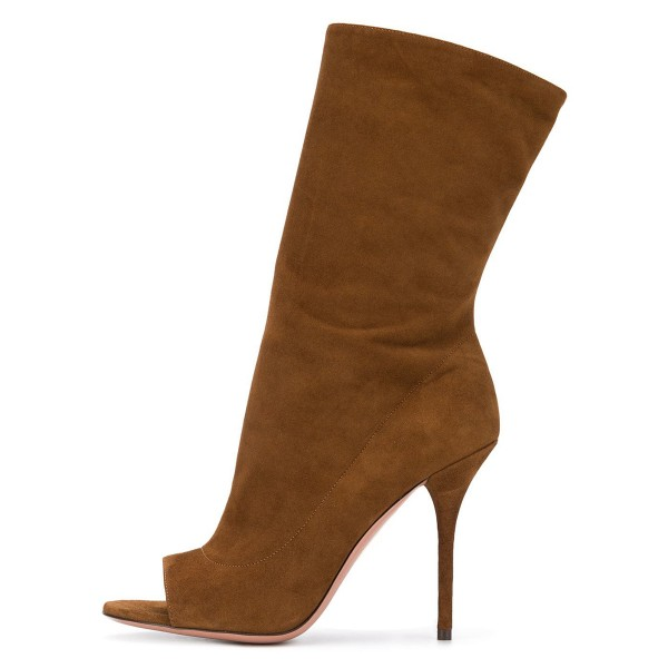 Brown Stiletto Boots Suede Peep Toe Stiletto Heel Mid-calf Boots image 3