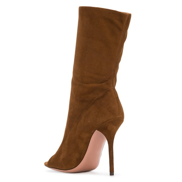 Brown Stiletto Boots Suede Peep Toe Stiletto Heel Mid-calf Boots image 4