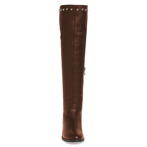 Brown Studs Round Toe Flat Long Boots Knee High Boots image 2