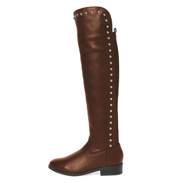 Brown Studs Round Toe Flat Long Boots Knee High Boots image 3