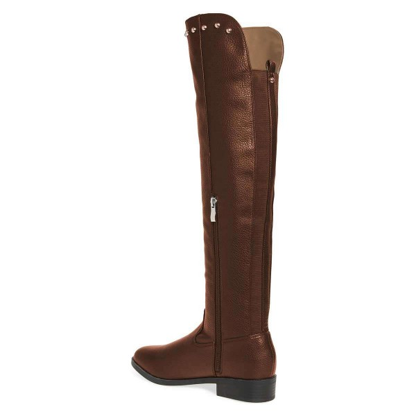 Brown Studs Round Toe Flat Long Boots Knee High Boots image 5