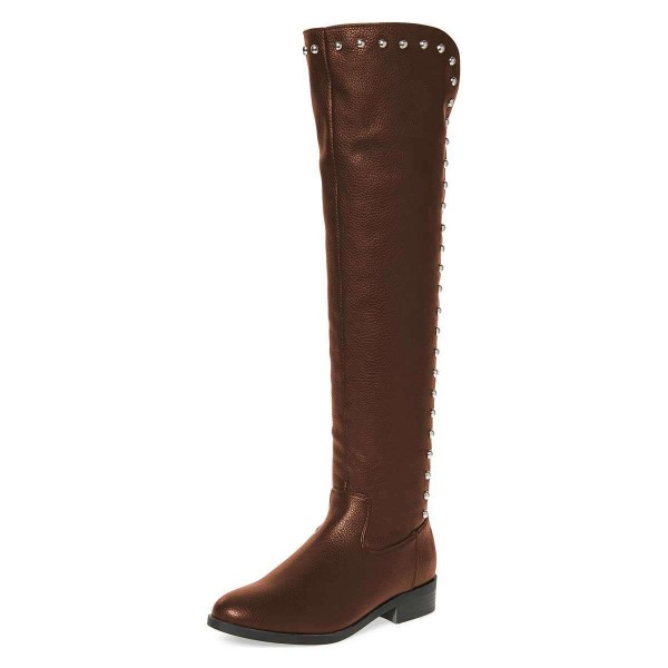d27d8e86991 Brown Studs Round Toe Flat Long Boots Knee High Boots for Work ...