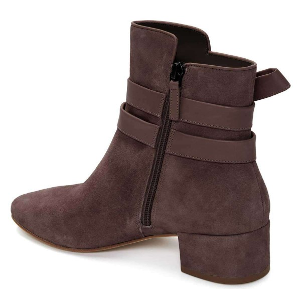 Brown Suede Boots Bow Chunky Heel Ankle Boots image 3