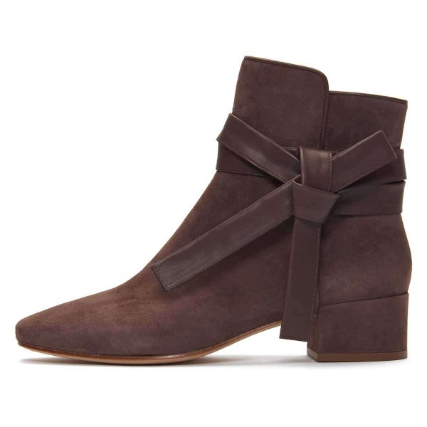 Brown Suede Boots Bow Chunky Heel Ankle Boots image 2