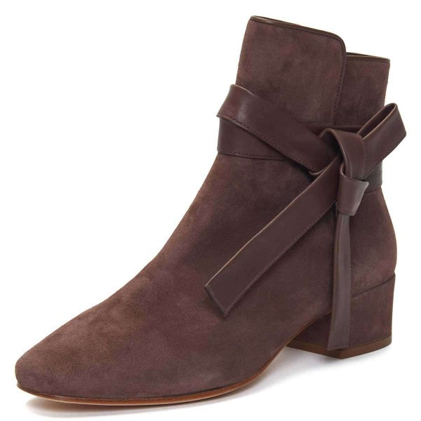 Brown Suede Boots Bow Chunky Heel Ankle Boots image 1