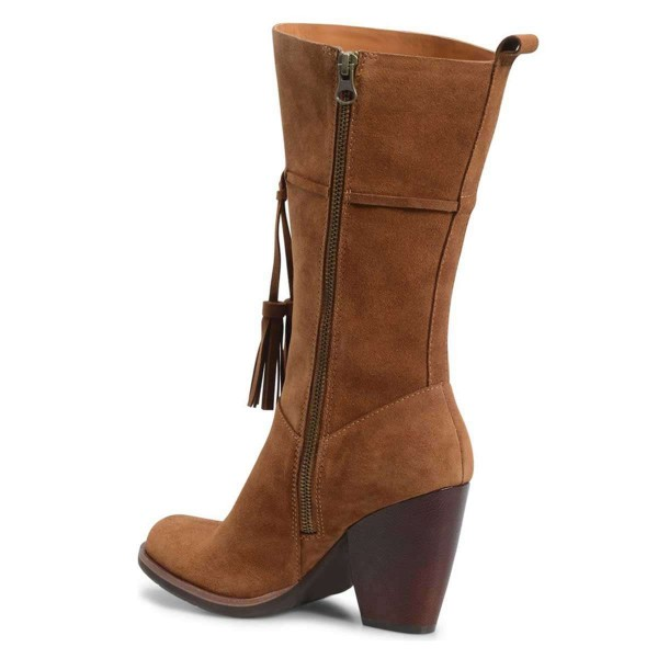 Brown Suede Boots Tassel Chunky Heel Mid Calf Boots  image 3
