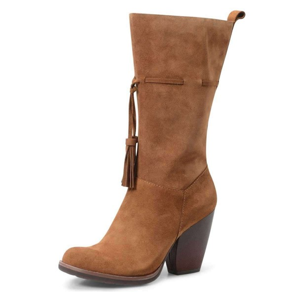 Brown Suede Boots Tassel Chunky Heel Mid Calf Boots  image 1