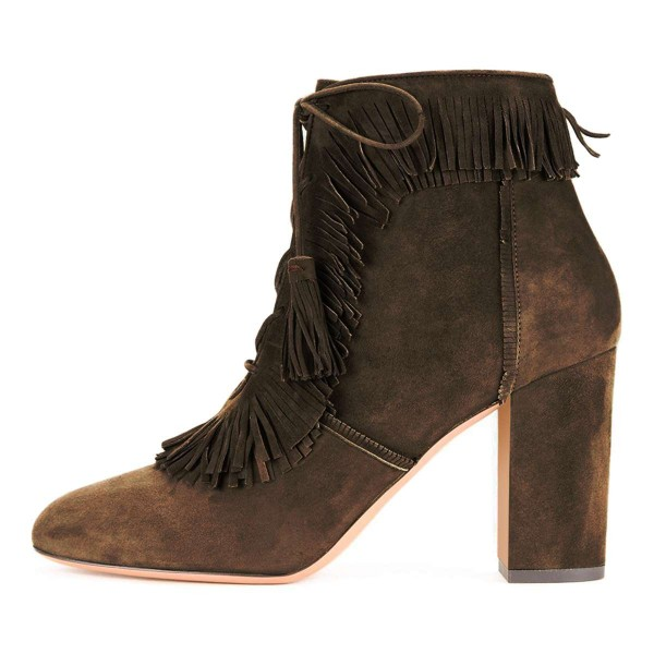 Brown Suede Chunky Heel Lace Up Tassel Fringe Boots image 3