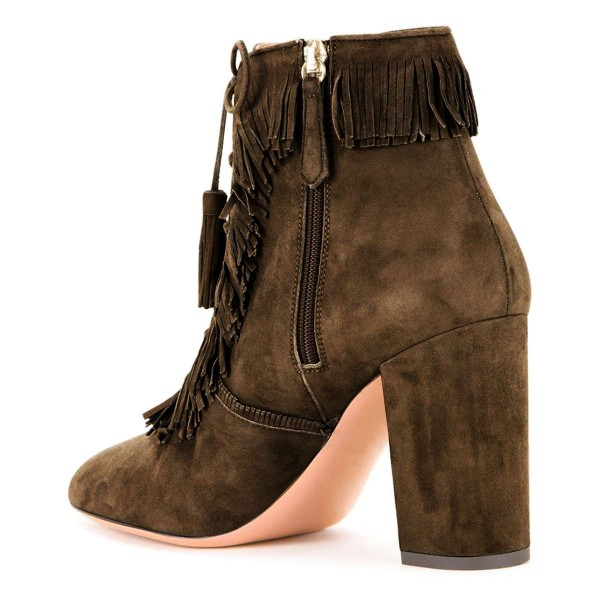 Brown Suede Chunky Heel Lace Up Tassel Fringe Boots image 2
