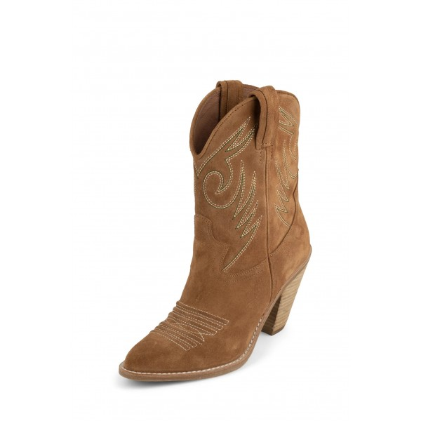 Tan Suede Cowgirl Boots Chunky Heel Mid-Calf Boots image 1
