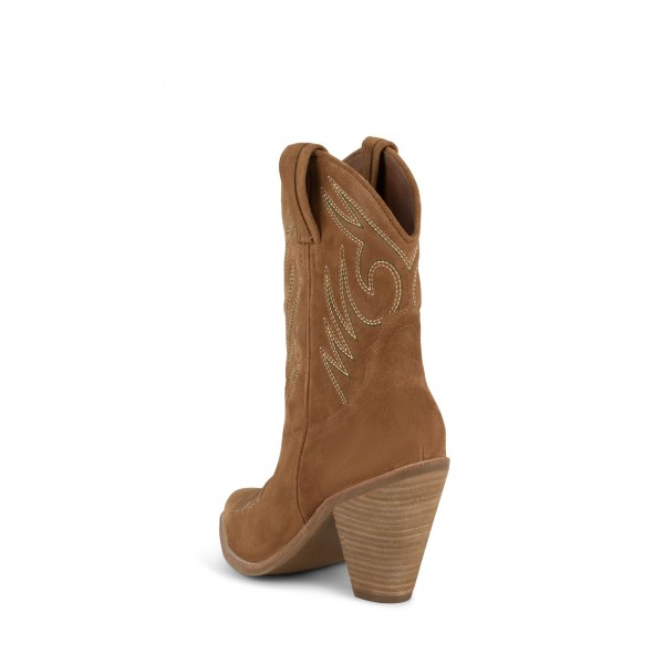 Tan Suede Cowgirl Boots Chunky Heel Mid-Calf Boots image 2