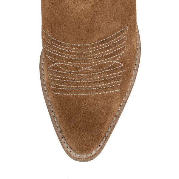 Tan Suede Cowgirl Boots Chunky Heel Mid-Calf Boots image 3
