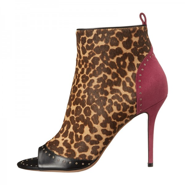 Brown Suede Horse Fur Leopard Print Boots Peep Toe Ankle Boots image 3