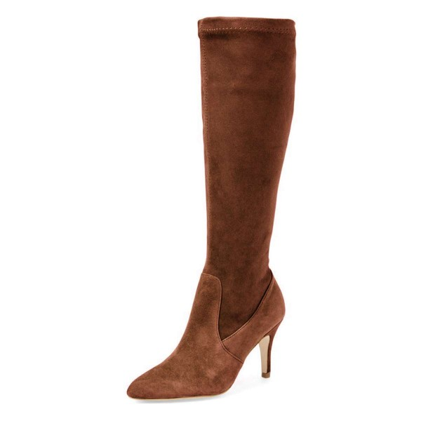 Brown Suede Knee-high Stiletto Boots for Women image 1