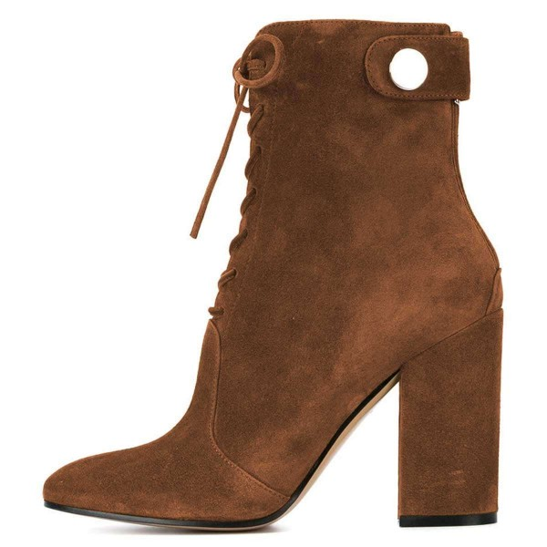 Brown Suede Lace up Boots Chunky Heel Ankle Booties image 3