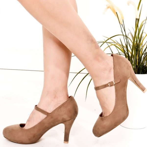 Brown Suede Mary Jane Pumps Round Toe Vintage Shoes image 1