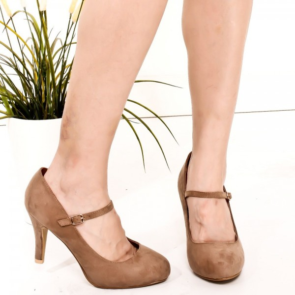 Brown Suede Mary Jane Pumps Round Toe Vintage Shoes image 2