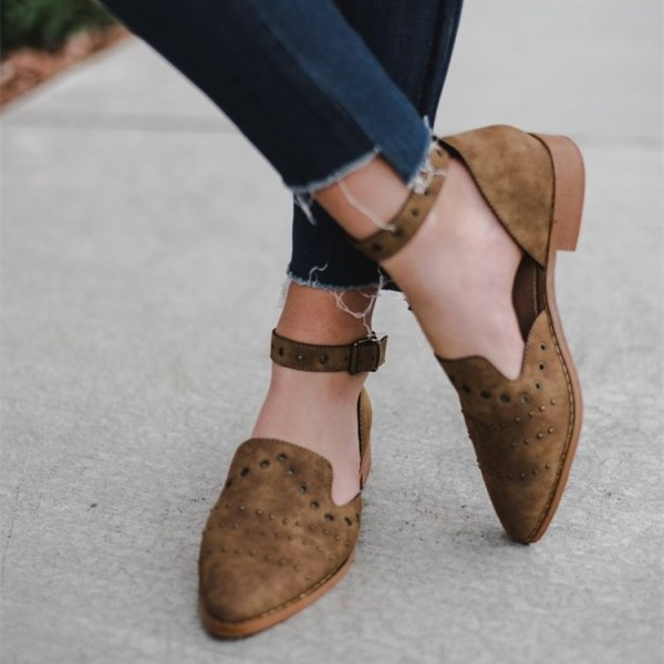 Brown Suede Studs Hollow Out Ankle Strap Loafers for Women image 2