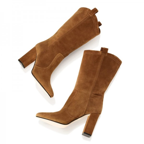 Brown Suede Western Boots Chunky Heel Mid Calf Boots image 4