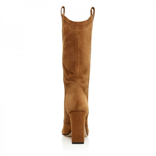 Brown Suede Western Boots Chunky Heel Mid Calf Boots image 3