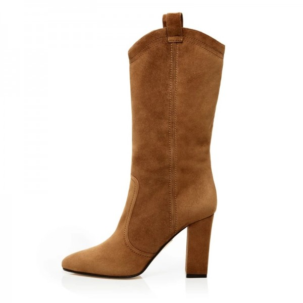 Brown Suede Western Boots Chunky Heel Mid Calf Boots image 5