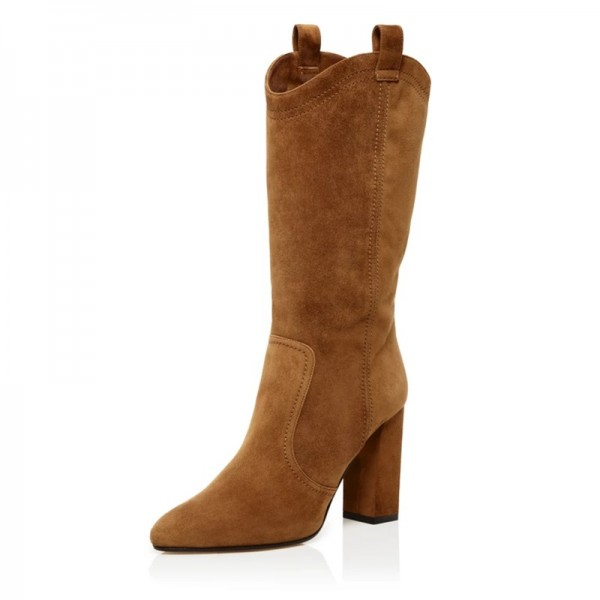 Brown Suede Western Boots Chunky Heel Mid Calf Boots image 1