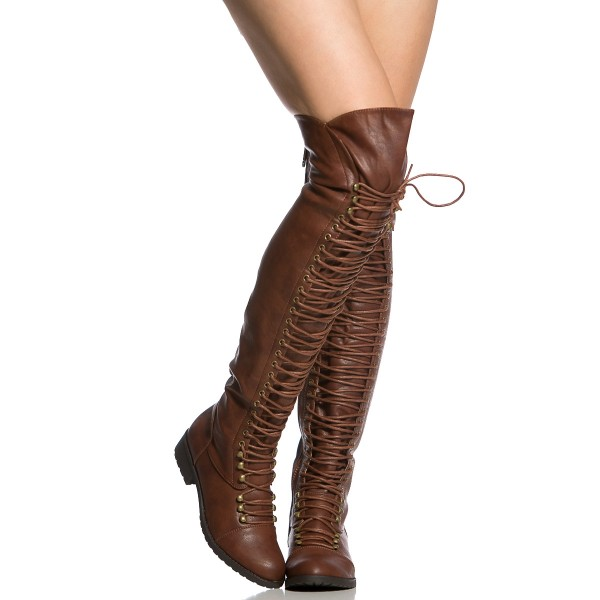 Brown Lace up Boots Knee High Boots Round Toe Flat Fashion Boots image 5