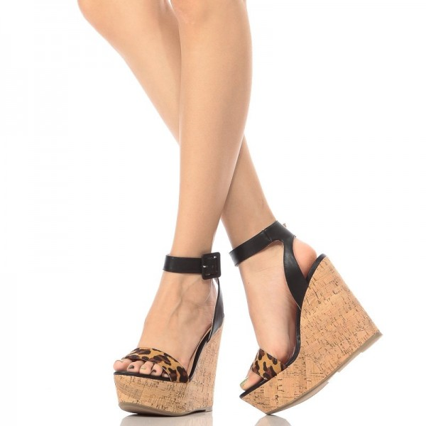 Brown Wedge Sandals Leopard Print Heels Vintage Ankle Strap Sandals image 1