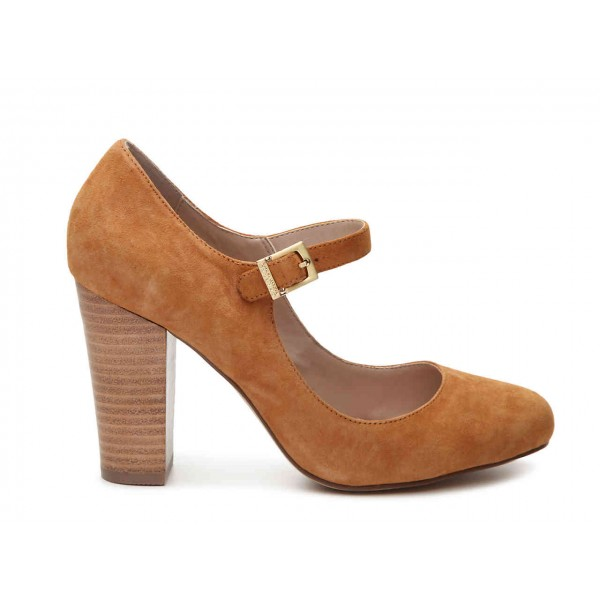 Brown Wood Chunky Heels Mary Jane Shoes Round Toe Pumps image 2