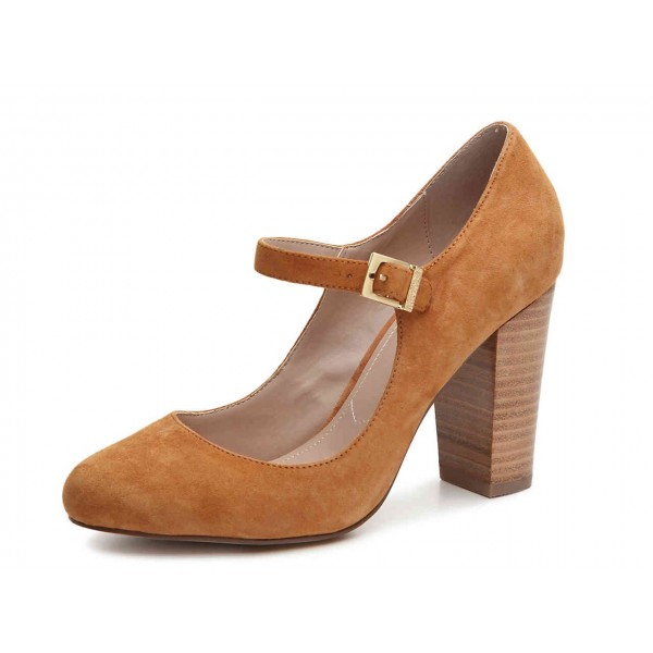 Brown Wood Chunky Heels Mary Jane Shoes Round Toe Pumps image 1