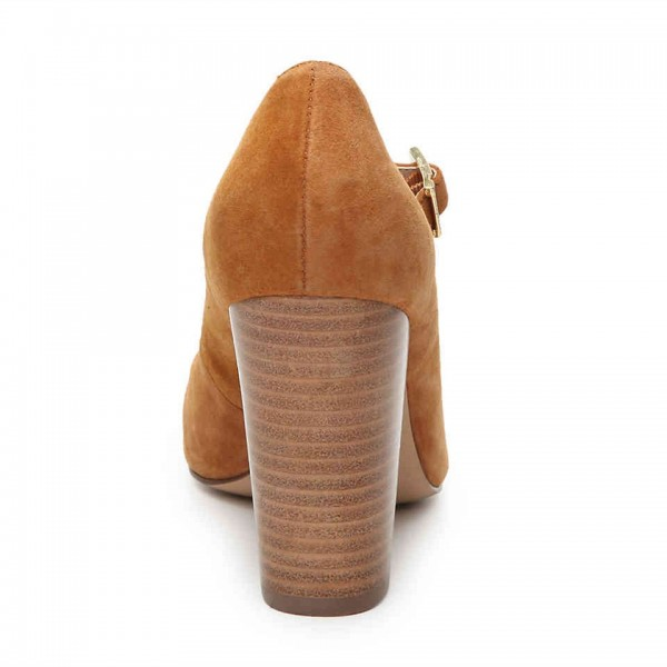 Brown Wood Chunky Heels Mary Jane Shoes Round Toe Pumps image 3