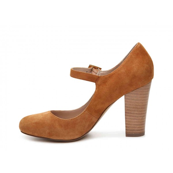 Brown Wood Chunky Heels Mary Jane Shoes Round Toe Pumps image 4