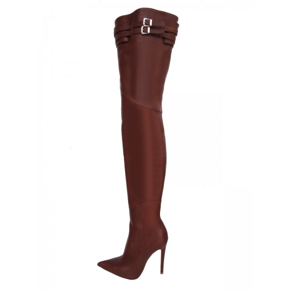 Brown Zip Buckle Thigh High Heel Boots image 3