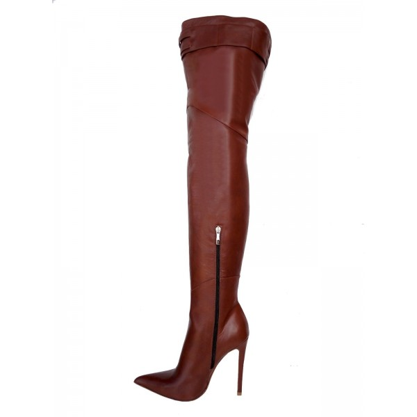 Brown Zip Buckle Thigh High Heel Boots image 2
