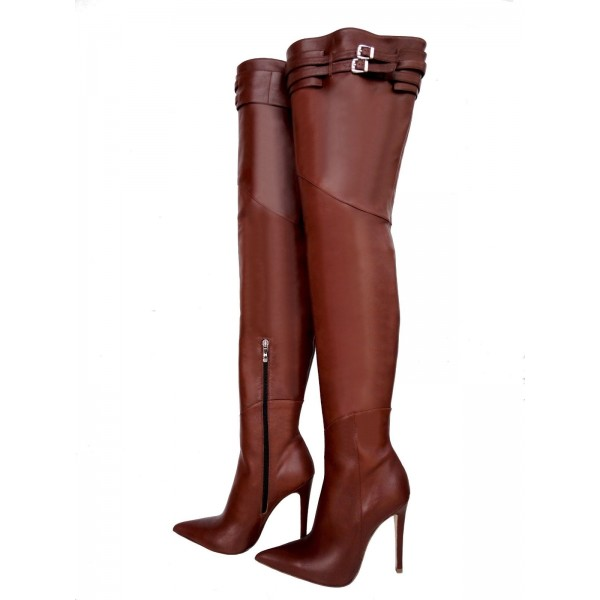 Brown Zip Buckle Thigh High Heel Boots image 4