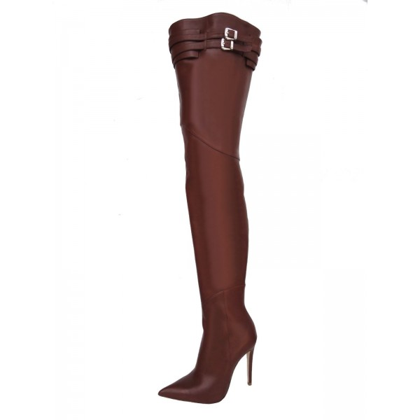 Brown Zip Buckle Thigh High Heel Boots image 1