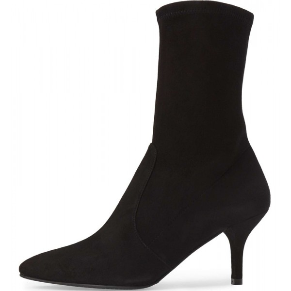Women's Black Suede Mid-Calf Boots for