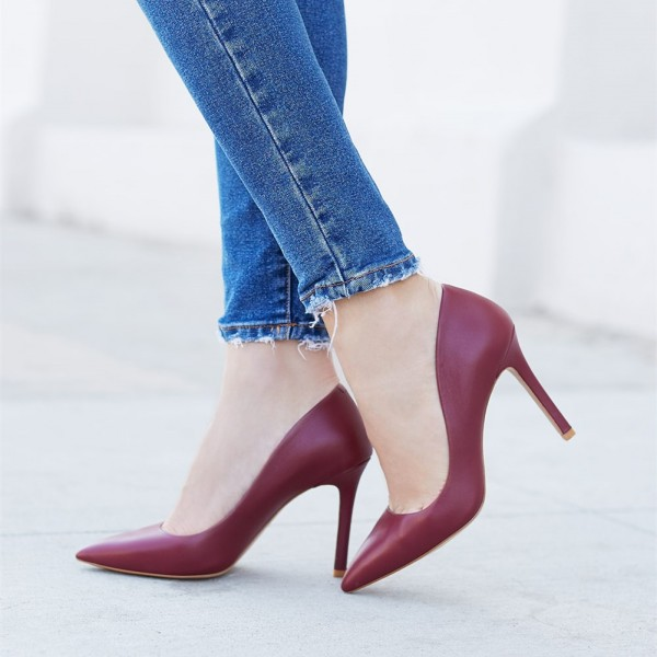 Burgundy Heels 3 Inches Pointy Toe Stiletto Heel Pumps Office Shoes image 1