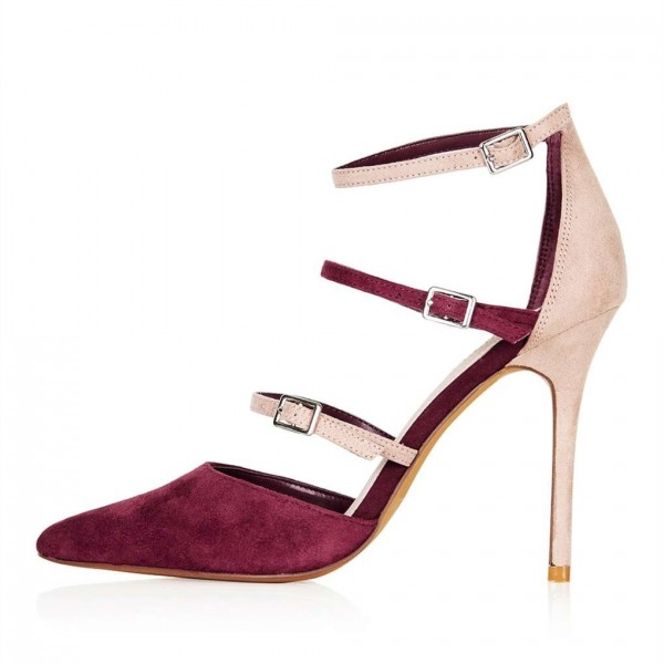 Maroon and Nude Pointy Toe Stiletto Heels Buckles Strappy Pumps image 2
