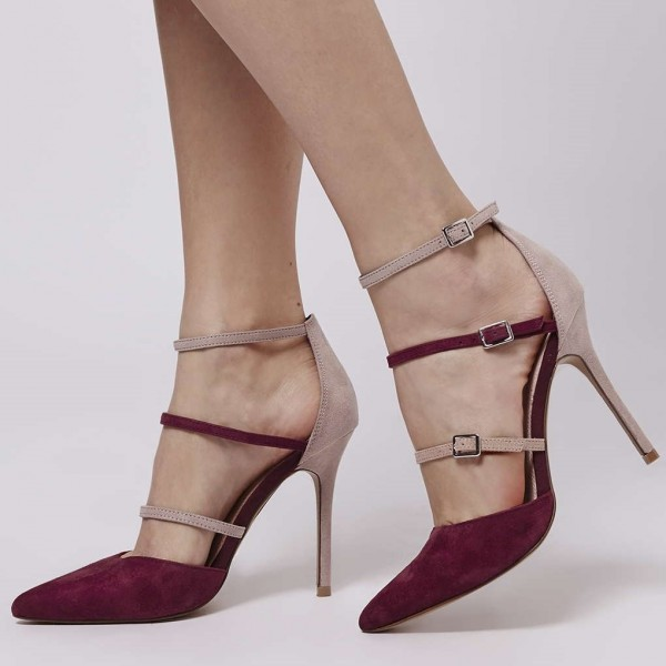 Maroon and Nude Pointy Toe Stiletto Heels Buckles Strappy Pumps image 1